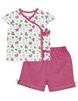 Infant girls co-ordinate set tie up pack of 2, Pink (9-12 Months)
