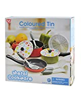 Play Go Metal Plate Cookware Coloured Tin, Multi Color