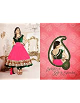 Disha Parmar Georgette Embroidered Pink Semi Stitched Bollywood Style Long Anarkali Suit - 23128