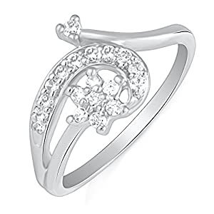Mahi Rhodium Plated EndeaRing With CZ Stones Turn Ring With CZ Stones