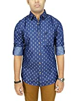 AA' Southbay Men's Blue Denim Printed Long Sleeve Party Casual Shirt