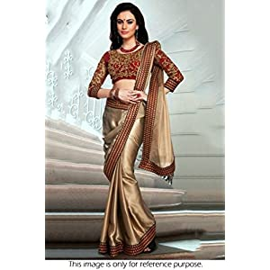 Bollywood Replica Model Silk Georgette Saree In Maroon and Gold Colour NC682