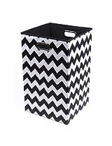 Modern Littles Bold Chevron Folding Laundry Basket, Black