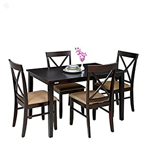 Style Spa Dining Table Set with Four Chairs Solid Wood - Cedar Dark Finish