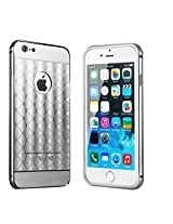 KARP Ultra-thin New Plaid Fundas Pattern Luxury Aluminum Metal Mirror Back Cover for iPhone 6s [4.7''] (Silver)