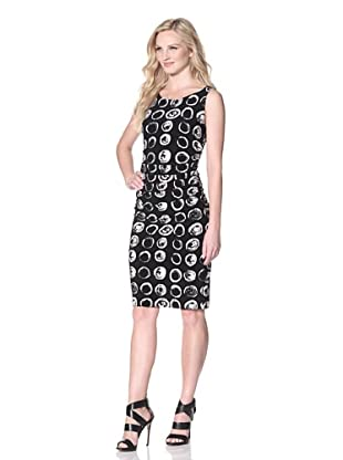 KAMALIKULTURE Women's Sleeveless Shirred Waist Dress (Black/White)