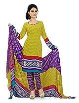 Khushali Presents Georgette Chudidar Dress Material(Yellow,Multi,Purple)