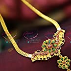 Gold Plated Traditional Flat Chain Pendant Necklace Ruby Emerald Online