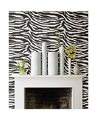 Zebbie Zebra Print Wallpaper, White