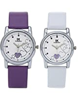 IIK Collection Combo of Women's analog Watches, Round White Dial With Purple Leather strap & Round White Dial With White Leather Strap IIk-1502W-1504W