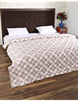 Elegant Hand Block Printed Cotton Quilt Double White Leaves By Rajrang