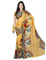Admyrin Yellow Georgette Printed Saree with Printed Saree