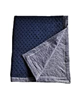 "Cozy Wozy Denim Baby Blanket with Minky, Navy Blue, 32"" x 37"""