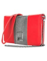 Lencca Kyma Vegan Leather Crossbody Smartphone Clutch Wallet Purse with Removable Chain Shoulder Strap - Pink/Silver Grey