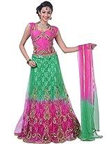 Jungle Green and Deep Pink Net and Jacquard Embroidered Lehenga Choliin Small Size