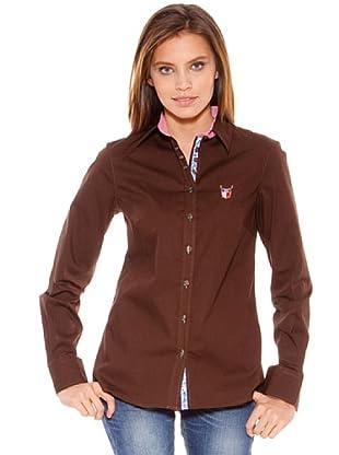 Polo Club Camisa Manga Larga Señora Entallada Lisa (Marrón)