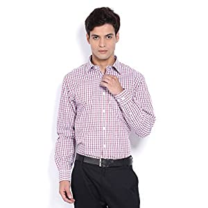 Allen Solly Men Red & White Checked Sport Fit Formal Shirt