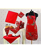 Handmade Cotton Chef's Apron Set with Pot Holder,Oven Mitts & Napkins -Perfect Home Kitchen Gift or Bridal Shower Gift,KS08-3002