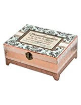Cottage Garden Granddaughter Belle Papier Chest Musical Jewelry Box Inspirational with Damask Finish