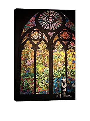 Banksy Stained Glass Window Graffiti Giclée On Canvas