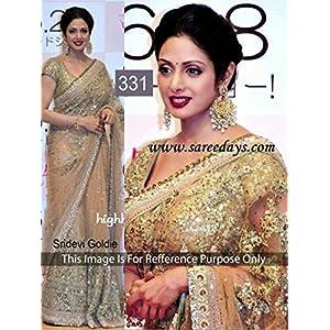 Sridevi in beautiful Golden designer embroidery net saree