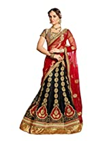 Manvaa Black And Red Net Embroidered A-Line 3/4 th sleeves Lehenga
