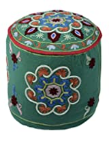 Gorgeous Ottoman Green Cotton Floral Embroidered Pouf Cover By Rajrang