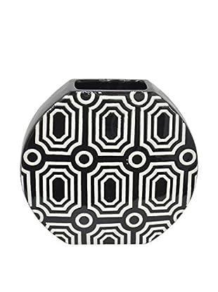 Three Hands Wide Geometric Ceramic Vase, Black/White