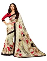 Brijraj Rashami Desai, Cream Bhagalpuri silk Beautifull Printed Saree Wih Unstitch Blouse