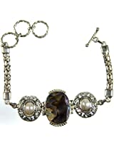 Exotic India Abalone and Pearl Bracelet - Sterling Silver