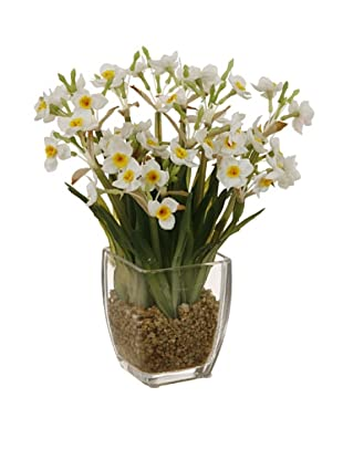 Potted Faux Narcissus, White/Green