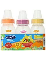 Evenflo Zoo Friends 3 Count Anatomic Nipple Bottle, 4 Ounce