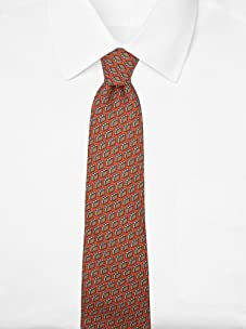 Hermès Men's Briefcase Tie (Orange/Brown/Tan)