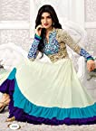 Clickedia Women Gorgette Semi-Stitched Anarkali Suit (SAUve 2122- White)