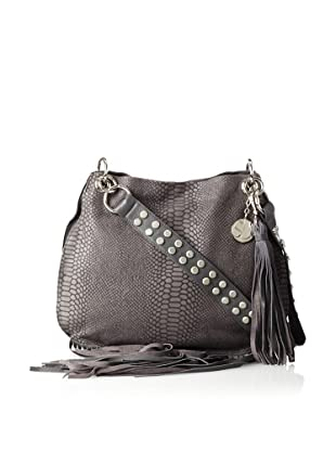 Stella & Jamie Women's Mona Embossed Leather Fringe Shoulder Bag (Dove)