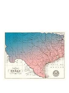 "Texas Gradient Map, Blue/Pink, 32"" x 40"""