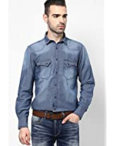 Blue Solid Casual Shirt Pepe Jeans