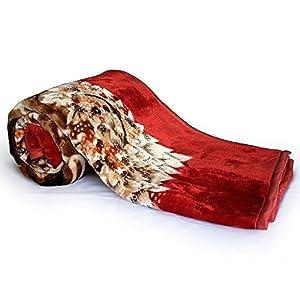 Little India Floral Soft Mink Double Blanket - Red (DLI4SBK227)