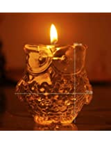 1PC European owl creative glass candlestick Candlestick candlelight dinner at home Decoration19*9cm