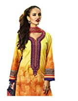 Admyrin Yellow and Orange Cotton Salwar Kameez with Purple Chikan Work Bottom