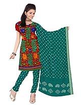 Kala Sanskruti Women Cotton Satin Bandhani Red Dress Material
