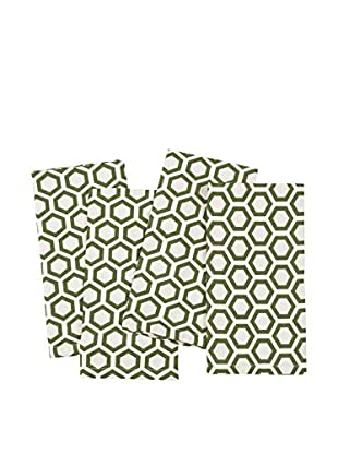KAF Home Set of 4 Hexagon Napkins, Cactus Green