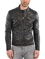 HugMe.fashion Men's Leather Jacket (JK14_Black_4XL, Brown, 4XL)