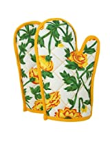 ShalinIndia Cotton Oven Mitts Printed Set of 2 Quilted Cooking Gloves,OG02-3701,Yellow,8 x12 Inch