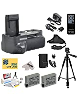 Opteka (4516B001) BG-E8 BGE8 Replacement Vertical Battery Grip for the Canon EOS 550D 600D 650D 700D / EOS Digital Rebel T2i T3i T4i and T5i DSLR Digital Camera Includes 2 Extended Life Canon LP-E8 LPE8 Replacement Battery Packs (2000MAH Each 4000MAH in Total) + 1 hour AC/DC Rapid Battery Charger + Wireless Shutter Release Remote Control + Leather Stabilizing Hand Grip Strap + 60 Inch Profession