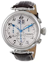 Akribos XXIV Men's AK628SS Retro Chronograph Stainless Steel White Dial Brown Leather Strap Watch