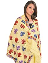 Exotic India Stole from Kashmir with Hand Embroidered Maple Leaves - Color Mellow YellowColor Free Size