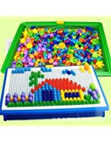 Kids Children DIY Mushroom Nail Beads 7 Colors Creative Plastic Flashboard 3D Puzzle Toy