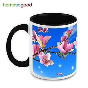 HomeSoGood Beautiful Morning Coffee Creamic Coffee Mugs White 325 ml Ceramic (2 Mugs)