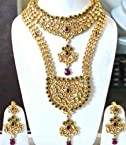 Kundan red green bridal set